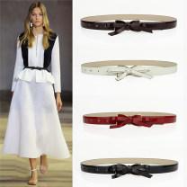 Belt / belt / chain Double skin leather Black, Burgundy, red, white female belt Versatile Single loop Smooth button bow Patent leather 2cm alloy 90cm,95cm,100cm