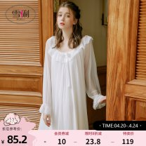 Nightdress shirley  F61110 m white f61110 soft pink f61113 m white f61111 white f61111 soft pink f61114 light purple f61114 m white f61114 soft pink f61112 m white f61112 soft pink f61117 m white f61117 soft pink S M L XL sexy Long sleeves Living clothes longuette summer Solid color youth lace