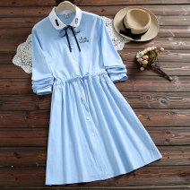 Dress Autumn of 2019 Pink light blue S M L XL XXL Mid length dress singleton  Long sleeves commute Polo collar Elastic waist Solid color Single breasted A-line skirt other 18-24 years old Type A Social filmmaker literature Bowknot embroidery stitching 51% (inclusive) - 70% (inclusive) cotton