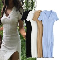 Dress Spring 2021 S, M longuette singleton  Short sleeve street V-neck High waist Solid color Socket One pace skirt routine Type H Splicing 243- knitting Europe and America