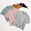 T-shirt Average size Summer of 2018 Short sleeve Half high collar Straight cylinder Regular routine commute cotton 31% (inclusive) - 50% (inclusive) 18-24 years old Korean version originality Solid color