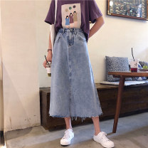 skirt Summer of 2019 S,M,L wathet longuette Versatile High waist skirt Solid color Type A 18-24 years old 31% (inclusive) - 50% (inclusive) Denim Other / other cotton