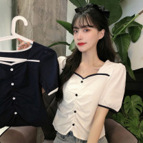 shirt White, black Average size Summer 2021 polyester fiber 31% (inclusive) - 50% (inclusive) Short sleeve commute Regular square neck Socket routine Solid color 18-24 years old Other / other Korean version J0325 cotton