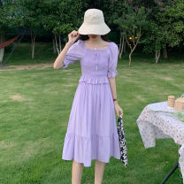 Dress Summer 2021 violet Average size longuette singleton  Short sleeve commute square neck High waist Solid color other A-line skirt routine Others 18-24 years old Type A Korean version C0325 31% (inclusive) - 50% (inclusive) other other