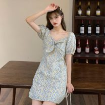 Dress Summer 2021 Picture color S, M Short skirt singleton  Short sleeve commute other High waist Solid color Socket A-line skirt bishop sleeve Others 18-24 years old Type A Retro Y0406 31% (inclusive) - 50% (inclusive) other other