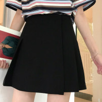 skirt Summer of 2019 S,M,L Black, pink Short skirt Versatile High waist A-line skirt Solid color Type A 18-24 years old Guozi test article No. - 002 30% and below other
