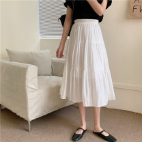 skirt Spring 2021 Average size White, black Mid length dress commute High waist A-line skirt Solid color Type A 18-24 years old J0322 31% (inclusive) - 50% (inclusive) other polyester fiber Korean version