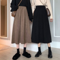 skirt Autumn 2020 Average size Brown, black Mid length dress commute High waist A-line skirt Solid color Type A 18-24 years old 30% and below other polyester fiber Korean version