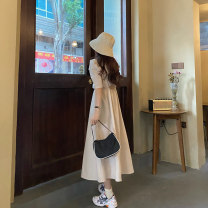 Dress Spring 2021 Apricot, red, lake blue Average size longuette singleton  Long sleeves commute Crew neck High waist Solid color Socket A-line skirt routine Others 18-24 years old Type A Korean version printing J0301 31% (inclusive) - 50% (inclusive) Chiffon polyester fiber