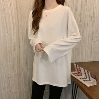T-shirt White, black, mogito blue, lake blue, orange Average size Spring 2021 Long sleeves Crew neck easy Regular routine commute cotton 96% and above 18-24 years old Korean version youth Solid color 0103g printing