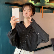 shirt black Average size Summer of 2019 other 96% and above Long sleeves commute Medium length Polo collar Single row multi button shirt sleeve other 18-24 years old Straight cylinder Korean version Button, pocket