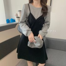 Dress Autumn 2020 Black with grey, apricot with caramel Average size Mid length dress Fake two pieces Long sleeves commute other High waist Solid color Socket A-line skirt routine camisole 18-24 years old Type A Korean version Y0911 31% (inclusive) - 50% (inclusive) other polyester fiber
