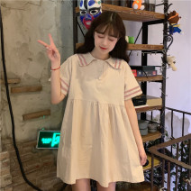 Dress Summer 2021 Apricot, pink M,L,XL,2XL Short skirt singleton  Short sleeve Sweet Admiral High waist Solid color Socket A-line skirt routine Others 18-24 years old Type A Y0314 31% (inclusive) - 50% (inclusive)