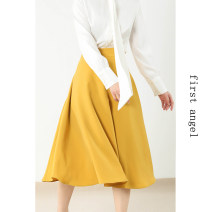 skirt Spring 2021 S,M,L White, ginger, black Mid length dress commute High waist A-line skirt Solid color Type A 25-29 years old More than 95% other Other / other polyester fiber wave Simplicity 351g / m ^ 2 (including) - 400g / m ^ 2 (including)