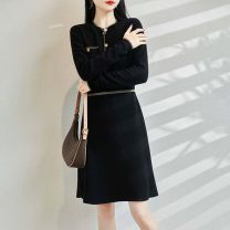 Dress Autumn 2020 Camel Obsidian Black Pearl White taro S M L Mid length dress singleton  Long sleeves commute Crew neck High waist Solid color Socket Big swing routine 18-24 years old Type X Teyhant Ol style Stitched thread button TD3W20160_ gXWfW More than 95% knitting wool Wool 100%