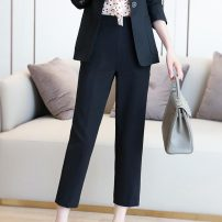 Casual pants Black grey S M L XL Autumn 2020 Ninth pants loose  High waist commute routine 81% (inclusive) - 90% (inclusive) GsWky Teyhant polyester fiber Korean version pocket polyester fiber Other 100% Pure e-commerce (online only)