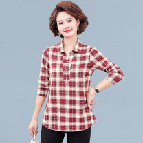 Middle aged and old women's wear Spring 2021 Lange red XL recommendation 90-105 kg 2XL recommendation 105-120 kg 3XL recommendation 120-135 kg 4XL recommendation 135-145 kg 5XL recommendation 145-160 kg commute shirt easy singleton  lattice Socket moderate Polo collar routine HT-16 Zuo Shiwei Button