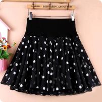 skirt Spring of 2018 S,M,L,XL,2XL,3XL,4XL Short skirt High waist A-line skirt Chiffon Other / other other Stitched printed pleats