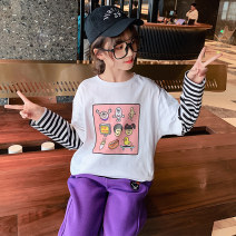 T-shirt Han Fan cartoon printed T-shirt Guldoeleph / Gudong elephant 120cm 130cm 140cm 150cm 160cm 170cm female spring Long sleeves Crew neck Korean version There are models in the real shooting nothing cotton Cartoon animation Cotton 100% SY0217 Class B Quick drying Spring 2021 Chinese Mainland