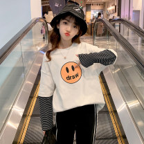T-shirt White striped sleeve smiley T-shirt black striped sleeve smiley T-shirt Guldoeleph / Gudong elephant 120cm 130cm 140cm 150cm 160cm 170cm female spring Long sleeves Crew neck Korean version There are models in the real shooting nothing cotton stripe Cotton 100% SY0206 Class B Quick drying
