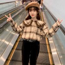 shirt Han Fan baby collar Plaid Shirt Guldoeleph / Gudong elephant female 120cm 130cm 140cm 150cm 160cm 170cm spring Long sleeves Korean version lattice cotton Doll Collar Cotton 100% SY0207 Class B Spring 2021