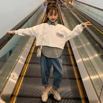 suit Guldoeleph / Gudong elephant Hanfan sweater + shirt + jeans 110cm 120cm 130cm 140cm 150cm 160cm 170cm female spring and autumn Korean version Long sleeve + pants 3 pieces Thin money There are models in the real shooting Socket nothing lattice cotton children Giving presents at school TZ0314