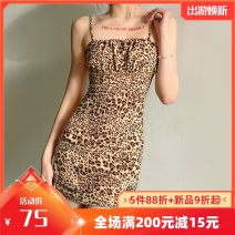 Dress Summer 2021 Dark brown S,M,L Short skirt singleton  Sleeveless street other middle-waisted Leopard Print other Pencil skirt other camisole 18-24 years old Type A Old, fungus, gauze, printing, stitching, backless, lace up, tie dye K21D00847 More than 95% other polyester fiber Europe and America