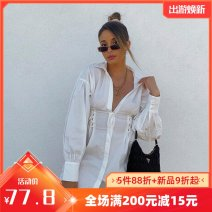 Dress Winter 2020 white S,M,L Short skirt singleton  Long sleeves street Polo collar High waist Solid color Single breasted other routine Others 18-24 years old Type A Button K20D10771 More than 95% other polyester fiber Europe and America