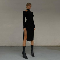Dress Autumn 2020 black S,M,L Middle-skirt singleton  Long sleeves street Crew neck High waist Solid color other Pencil skirt routine Others 18-24 years old Type A Make old, cut out K20D10380 81% (inclusive) - 90% (inclusive) other cotton Europe and America