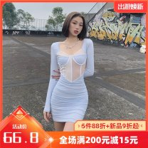 Dress Winter 2020 blue S,M,L Short skirt singleton  Long sleeves street Crew neck High waist Solid color Socket One pace skirt routine Others 18-24 years old Type A Splicing K20D10327 81% (inclusive) - 90% (inclusive) other polyester fiber Europe and America