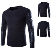 T-shirt Youth fashion black routine M,L,XL,2XL AOWOFS Long sleeves Crew neck Self cultivation daily spring teenagers raglan sleeve tide other 2020 Solid color cotton No iron treatment 50% (inclusive) - 69% (inclusive)