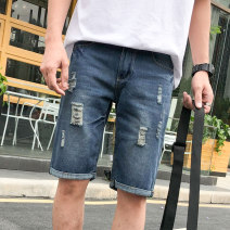 Jeans Youth fashion Others 28,29,30,31,32,33,34,36 navy blue routine No bullet Regular denim Pant Other leisure Cotton 73% polyester 27% summer teenagers middle-waisted Fitting straight tube tide 2020 Straight foot zipper washing Five bags hole cotton