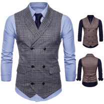 Vest / vest Youth fashion Others M,L,XL,2XL,3XL,4XL Grey, brown Other leisure standard Vest routine Four seasons youth 2018 Basic public lattice double-breasted Cotton polyester