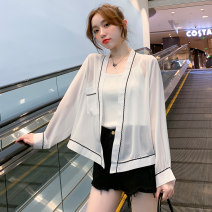 short coat Summer 2021 S,M,L,XL white Long sleeves routine Thin money singleton  Straight cylinder commute routine other Solid color 91% (inclusive) - 95% (inclusive) ZL3532 Cellulose acetate polyester fiber