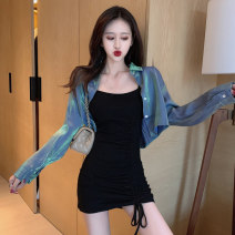 Dress Autumn of 2019 Black suspender skirt + blue shirt blue shirt suspender skirt S M L XL Short skirt Two piece set Long sleeves commute One word collar High waist Solid color Socket Pencil skirt routine camisole 18-24 years old Type X A shy child Korean version Pleated stitching S2385 brocade
