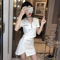 Dress Summer of 2019 White black S M L XL Short skirt Two piece set Short sleeve commute V-neck High waist Solid color zipper Pencil skirt routine Others 18-24 years old Type X A shy child lady Splicing SS1514 More than 95% brocade polyester fiber Polyester 100% Pure e-commerce (online only)