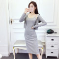 Dress Autumn of 2019 Black grey S M L XL Middle-skirt Two piece set Long sleeves commute V-neck High waist Solid color Socket Pencil skirt routine camisole 18-24 years old Type X A shy child Korean version Splicing More than 95% brocade polyester fiber Pure e-commerce (online only)