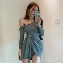 Dress Summer 2020 Grey black S M L Short skirt singleton  Long sleeves commute One word collar High waist Solid color Socket Irregular skirt routine camisole 18-24 years old Type X A shy child Korean version Asymmetric bandage S3362 More than 95% brocade polyester fiber Pure e-commerce (online only)