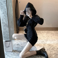 Sweater / sweater Winter of 2019 black S M L Long sleeves routine Socket singleton  routine Hood Self cultivation commute bishop sleeve Solid color 18-24 years old 96% and above A shy child Korean version polyester fiber Splicing cotton Polyester 98% polyurethane elastic fiber (spandex) 2% zipper