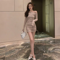 Dress Autumn of 2019 Apricot grey blue S M L XL Short skirt singleton  Long sleeves commute One word collar High waist Solid color Socket One pace skirt routine Others 18-24 years old Type X A shy child Korean version Pleated stitching S2712 More than 95% brocade polyester fiber Polyester 100%
