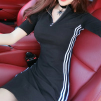 Dress Summer of 2019 Black Short Sleeve Black Long Sleeve S M L XL Short skirt singleton  Short sleeve commute V-neck middle-waisted stripe zipper Pencil skirt routine Others 18-24 years old Type X A shy child Korean version Stitching zipper S1493 More than 95% brocade polyester fiber Polyester 100%
