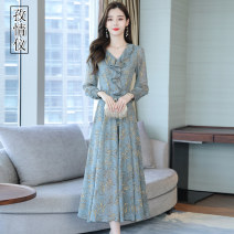 Dress Summer 2020 Grey Pink Green M L XL 2XL 3XL longuette singleton  Long sleeves commute V-neck High waist Broken flowers Socket Big swing routine Others 35-39 years old Type A Love instrument Korean version printing ZQY2020X2906.; More than 95% Chiffon other Other 100%