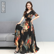 Women's large Summer 2020 Picture color M L XL 2XL 3XL 4XL Dress singleton  commute Straight cylinder moderate Socket Short sleeve Flower color Korean version V-neck other printing and dyeing routine ZQY2020C6861a Love instrument 35-39 years old longuette Other 100% Pure e-commerce (online only)