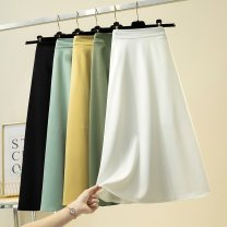 skirt Spring 2021 S,M,L,XL,2XL White, black, yellow, light blue Mid length dress Versatile High waist Umbrella skirt Solid color Type A GGJ901 More than 95% other