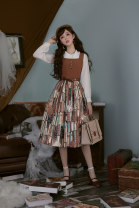 Dress Autumn of 2019 Oil painting color, quiet blue, texture black (gray) flawed products, dusty color, sold out Jsk1, jsk2