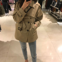 Windbreaker Autumn of 2019 XS S M L khaki Long sleeves routine Medium length commute double-breasted tailored collar routine Solid color Straight cylinder Retro zoqo 25-29 years old Lace up button 96% and above other Other 100% Pure e-commerce (online only)