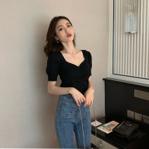 T-shirt XS S M Summer of 2019 Short sleeve V-neck Self cultivation Regular puff sleeve commute other 96% and above 25-29 years old Retro Solid color zoqo fold Other 100% Pure e-commerce (online only)
