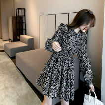 Dress Spring 2021 black S M L Short skirt singleton  Long sleeves commute Crew neck High waist Broken flowers Socket A-line skirt routine Others 25-29 years old Type A zoqo Korean version ZQ82569Z More than 95% other Other 100% Pure e-commerce (online only)