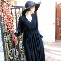Dress Spring 2021 black M, L longuette singleton  Long sleeves street V-neck High waist Solid color Single breasted Big swing Lotus leaf sleeve Others AYAH Ruffles, ruffles, folds, buttons More than 95% Chiffon other Europe and America