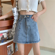skirt Spring 2021 S,M,L,XL Black, light blue Short skirt commute High waist A-line skirt Solid color Type A 18-24 years old Pocket, zipper Korean version